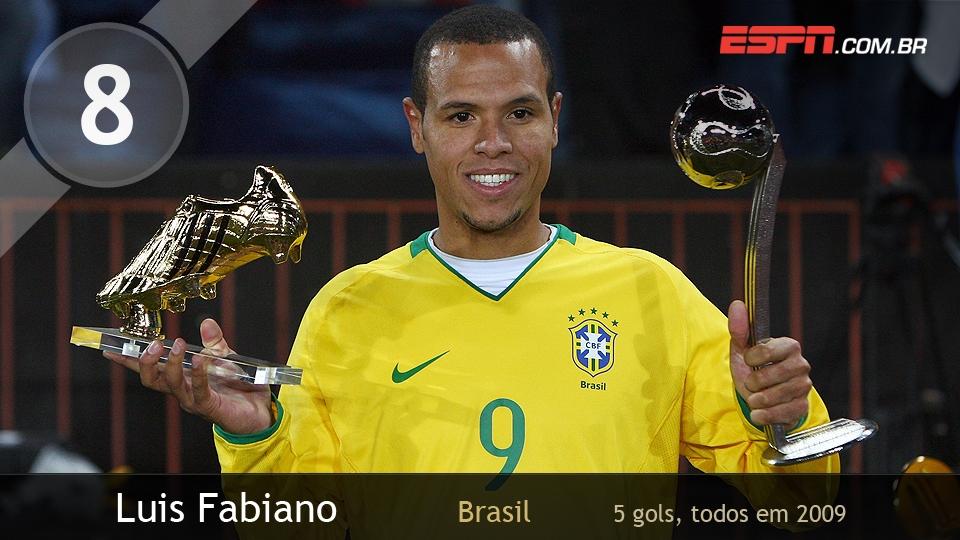 Luis Fabiano brilhou em 2009: foi o artilheiro do torneio, fez 2 gols na virada sobre os EUA na final e foi eleito o 2º melhor, atrás apenas de Kaká