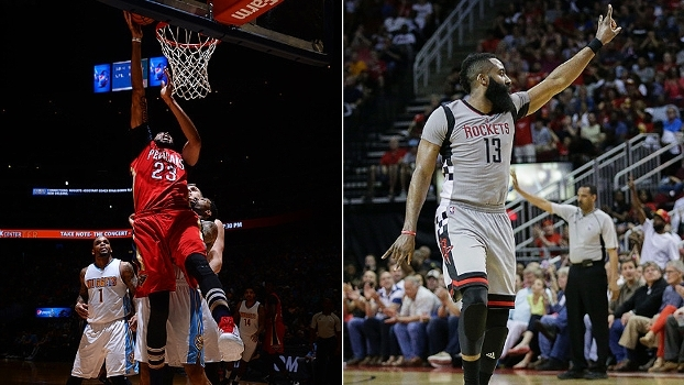 Cravada de Anthony Davis e bola de três de Harden no estouro do cronômetro no Top 10 da rodada