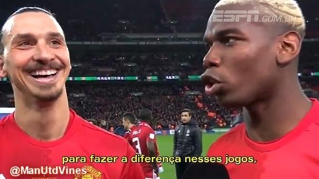 Pogba se confunde e brinca com Ibra após conquista da Copa da Liga: 'Foi por isso que te compramos'