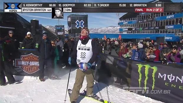 Norueguês completa quatro voltas no ar e fica com o ouro no Ski Slopestyle