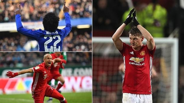 Willian preciso, golaço de Robben, 'puxeta' de Schweinsteiger e mais nas pinturas do fim de semana