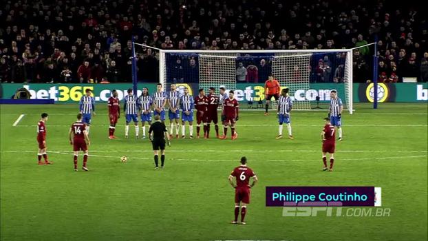 Entre gol de voadora, contra-ataque e passe de letra, classe de Coutinho é destaque nos golaços da Premier League