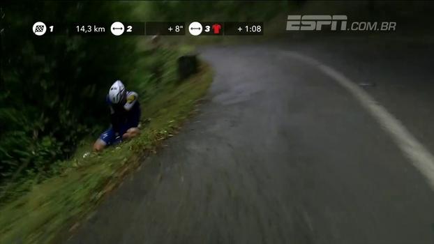 Sob muita chuva, até ciclistas favoritos caem na 20ª etapa da Volta da Espanha