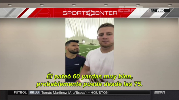 Futebol x futebol americano: Aguero vence desafio contra JJ Watt