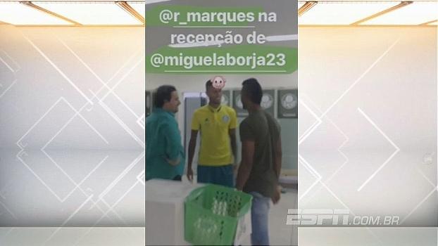 Borja faz 'tour' pela academia do Palmeiras e conhece Rafael Marques