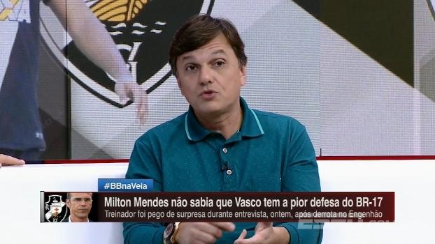 Mauro não entende como Milton Mendes não sabia que a equipe tinha a pior defesa do campeonato e critica zaga do Vasco