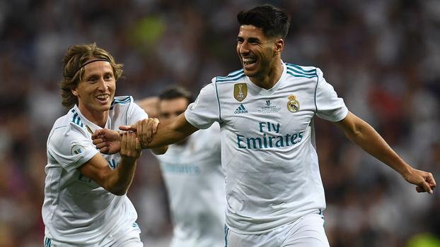Supercopa da Espanha (volta): Gols de Real Madrid (campeão) 2 x 0 Barcelona