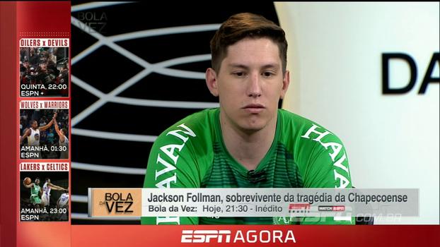 Jakson Follmann, sobrevivente da tragédia da Chapecoense, no Bola da Vez desta terça-feira e mais; confira!