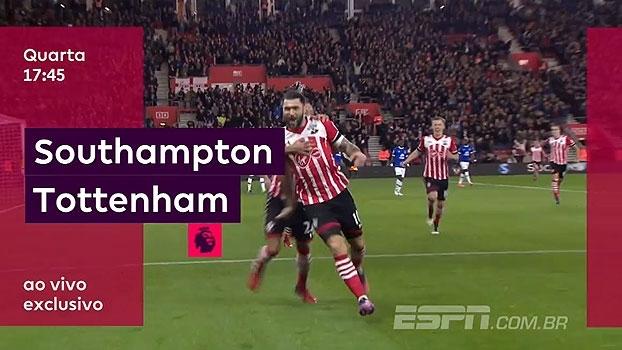 Você assiste Southampton x Tottenham na quarta-feira, às 17h45, ao vivo e exclusivo na ESPN Brasil e