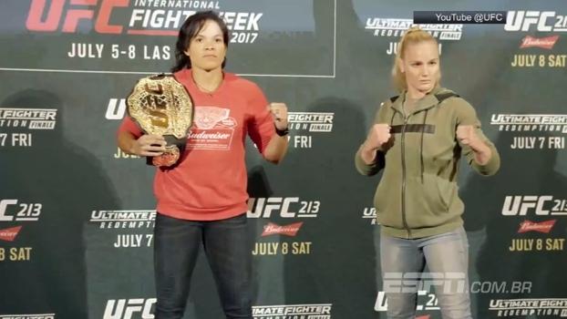 Veja as encaradas de Amanda Nunes x Shevchenko e Werdum x Overeem no Media Day do UFC 213