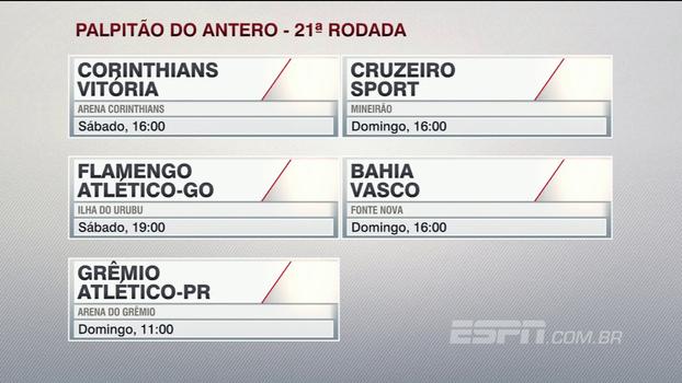 Assista ao 'palpitão' do Antero Greco para a 21ª rodada do Campeonato Brasileiro