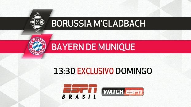 M'Gladbach x Bayern: veja neste domingo, 13h30, na ESPN Brasil e no WatchESPN