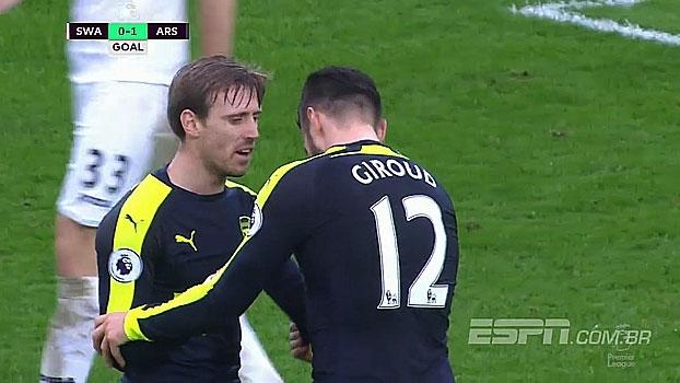 Tempo real: GOL do Arsenal! Giroud pega sobra na área e abre o placar no Liberty Stadium