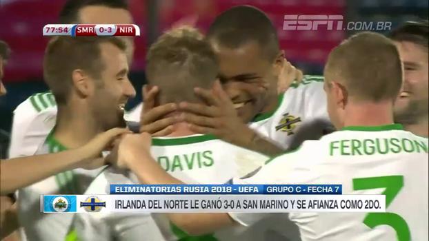 Irlanda do Norte faz 3 a 0, chega em 2º lugar do grupo e deixa San Marino ainda sem nenhum ponto em 7 jogos