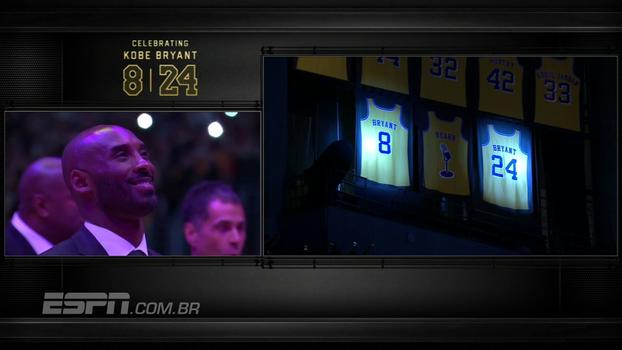 Assista ao momento em que Kobe Bryant tem seus dois números aposentados pelos Lakers