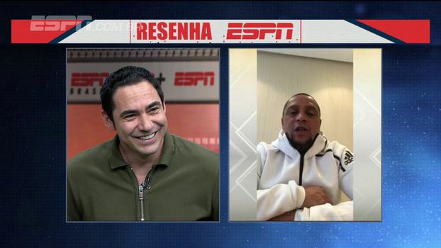 Roberto Carlos participa do Resenha ESPN e brinca com Chicão por terremoto na Índia: 'Desceu 18 andares de escada'