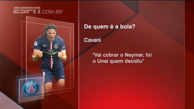 'O Neymar cobrará o próximo pênalti', diz Cavani