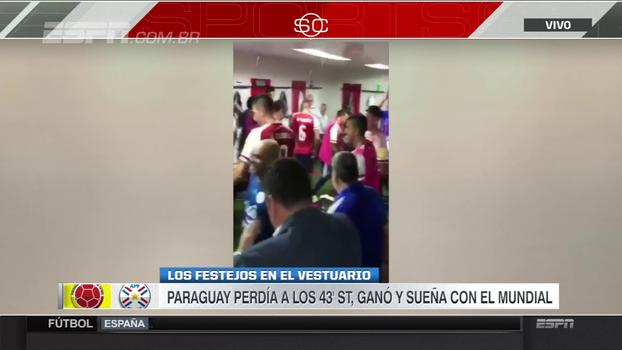 Veja comemoração dos jogadores paraguaios após virada incrível contra a Colômbia