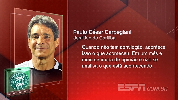 Zé Elias reprova declaração de Carpegiani após demissão no Coritiba: 'Muito mais fácil criticar agora'
