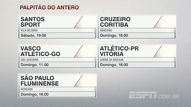 Assista ao 'palpitão' do Antero Greco para a 10ª rodada do Campeonato Brasileiro
