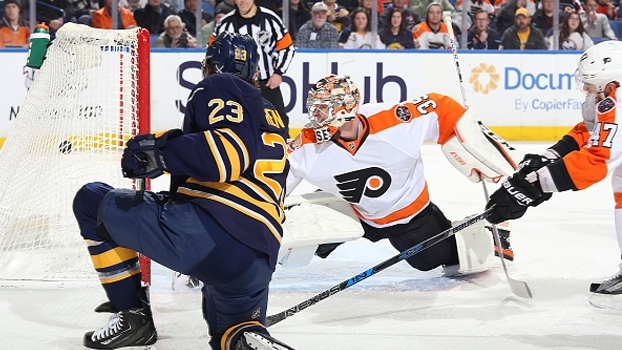 Sam Reinhart anota 3 pontos e Anders Nilsson defende 39 tiros em vitória dos Sabres sobre os Flyers