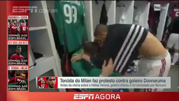 Após ser hostilizado pela torcida do Milan, Donnarumma cai no choro e é consolado nos vestiários por Bonucci