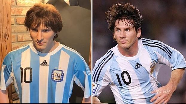 Há um ano da Copa do Mundo, Messi já faz sucesso em São Petersburgo na versão de plástico