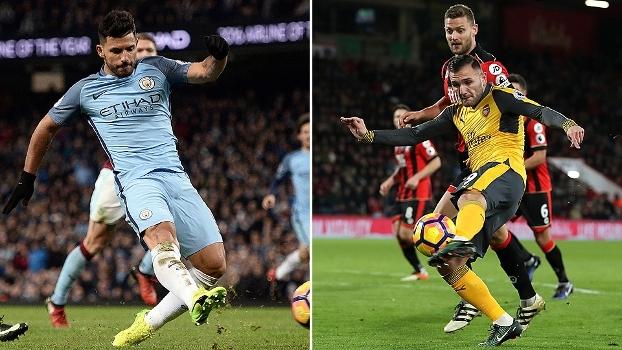 Aguero sem ângulo, chutaço de Lucas Perez e voleio de Zaha: golaços da 20ª rodada da Premier League