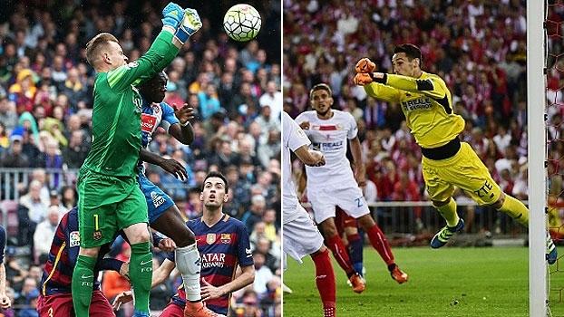Impossíveis! Goleiros de Barça e Sevilla fazem da final da Copa do Rei um show de defesas