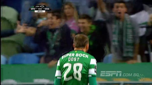 Dost anota hat-trick, Sporting goleia Chaves e segue na caça ao líder Porto