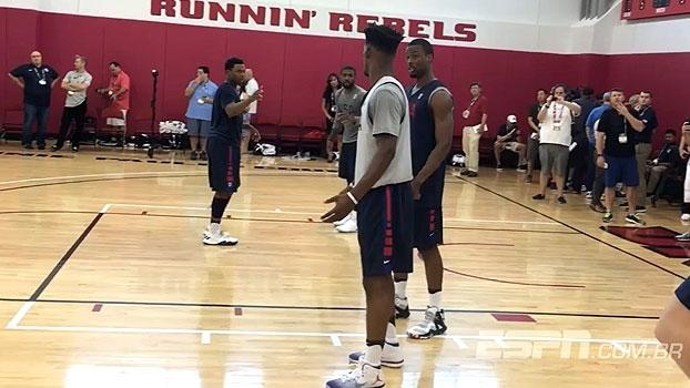 Cestas de três e 1 x 1: veja as imagens do treino da seleção norte-americana de basquete