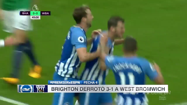 Brighton tira invencibilidade do West Bromwich e chega ao 13º lugar