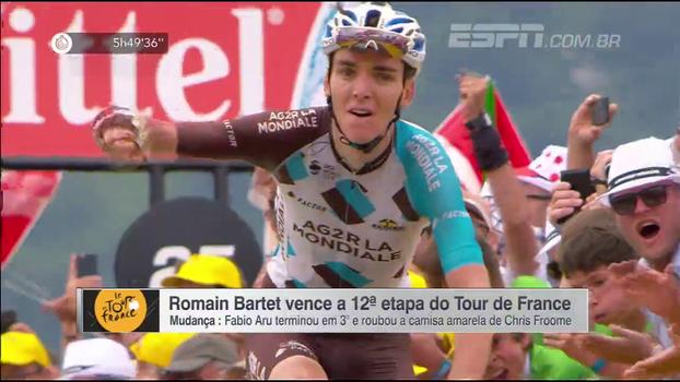 Fabio Aru é 3º em etapa vencida por Romain Bartet e toma camisa amareloa de Chris Froome