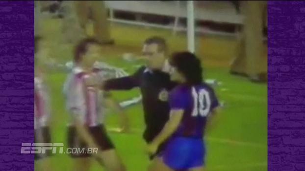 Fratura de tornozelo, joelhada na cara, voadora... Relembre grandes momentos de Maradona contra o Bilbao