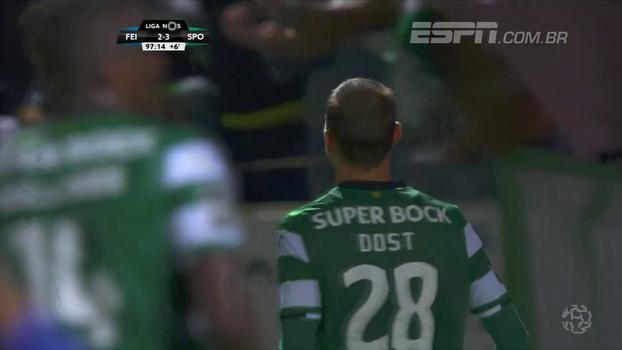 Assista aos gols da vitória do Sporting sobre o Feirense por 3 a 2!