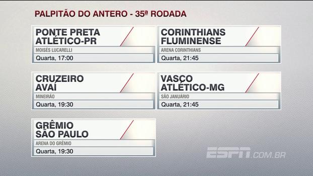 Confira o 'palpitão do Antero' para a 35ª rodada do Campeonato Brasileiro