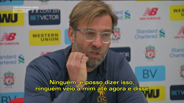 Klopp se diz cansado com perguntas sobre possível saída de Coutinho do Liverpool: 'Ninguém ainda me falou nada'