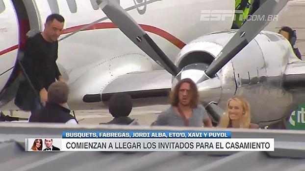 Puyol, Xavi, Eto'o... Craques da história do Barcelona chegam ao casamento de Messi