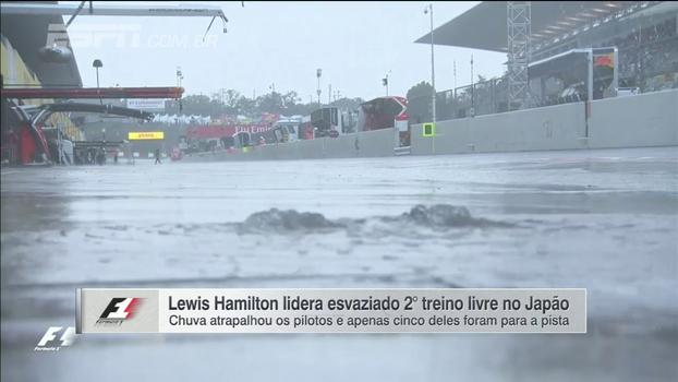 Em dia marcado por forte chuva, Hamilton lidera esvaziado 2º treino livre no GP do Japão