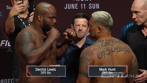 UFC Fight Night 110: veja encarada entre Derrick Lewis e Mark Hunt