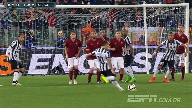 11e0263e24 Tempo real  Gol da Juventus! Tévez cobra falta no ângulo