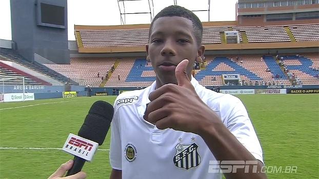 Caçula do Santos comemora chance na Copinha e manda abraço a Robinho: 'Como se fosse um paizão'