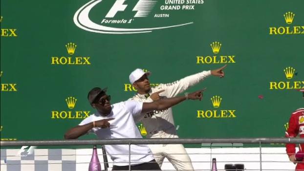 Selfie, raio e 'festa' com carro: Hamilton e Bolt geram 'explosão de carisma' no GP dos EUA