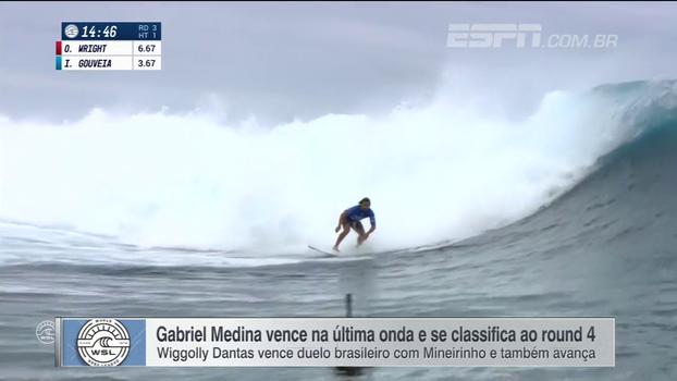 Medina e Wiggolly avançam ao round 4 na etapa do Taiti do Mundial de Surfe