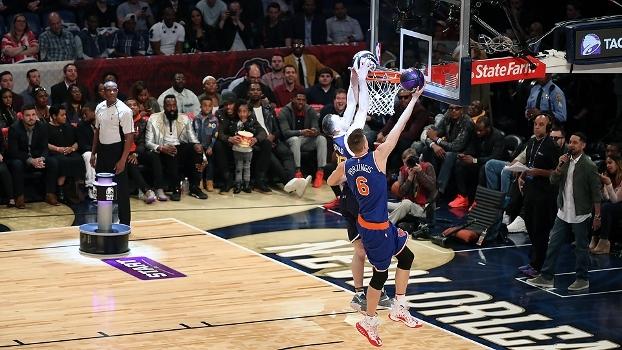 Com 2,21m de altura, gigante dos Knicks supera 'baixinhos' e ganha o torneio de habilidades da NBA