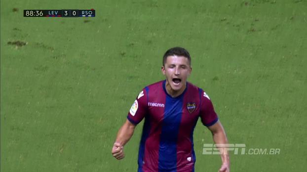 Chema Rodríguez faz golaço, Levante vence Real Sociedad e chega ao 5º lugar