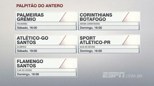 Veja o 'palpitão' do Antero Greco para a 11ª rodada do Campeonato Brasileiro
