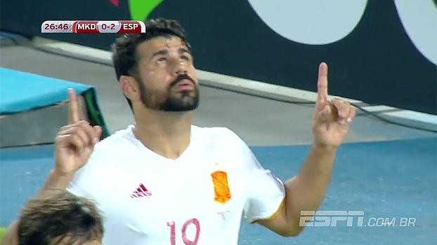 GOL da Espanha! Isco finta bonito e cruza para Diego Costa, que amplia diante da Macedônia