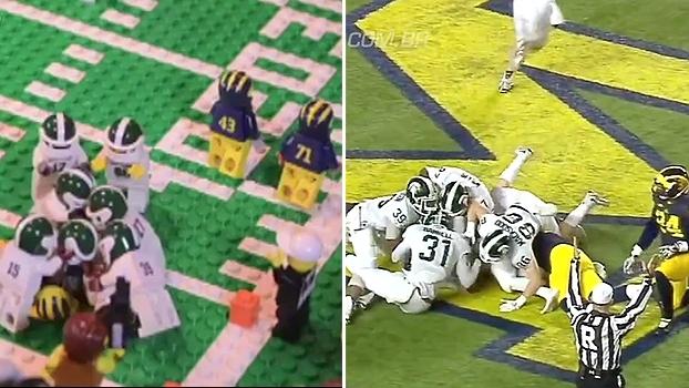 Final de jogo épico da última temporada do College Football é recriado em lego; compare os lances