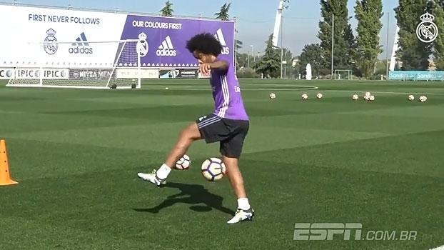 Fácil? Marcelo dá show de embaixadinhas em treino do Real Madrid